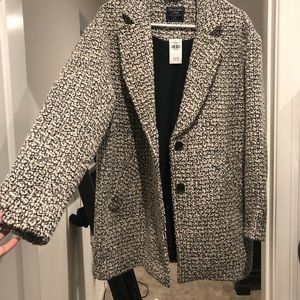 White and black wool blend coat